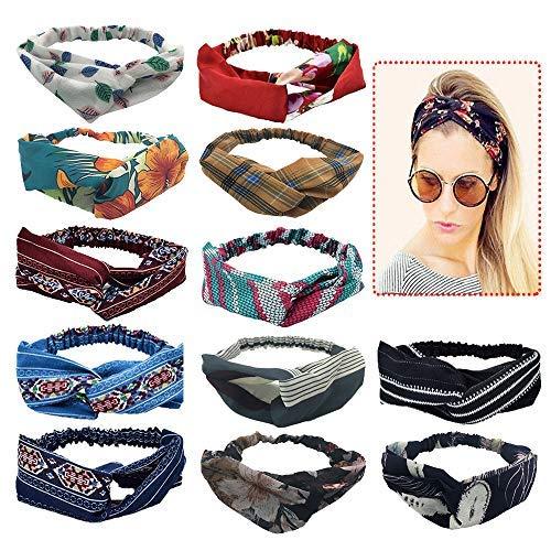 Fasce per capelli da donna Fasce Headwand, Elastic Printed Head Wrap Accessori per capelli turbante elastico per donne e ragazze (12 pezzi)