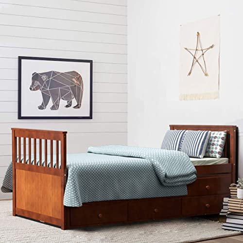 wholesale Giantex Twin Captain's Bed with Trundle Bed, Wood Storage Daybed with 3 Storage Drawers, Bunk Bed Alternative, No Box Spring Needed, Wooden Platform wholesale Bed Great lowest for Kids Guests Sleepovers (Walnut) online