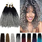 14 Inch Marlybob Crochet Hair Deep Water Wave Ombre Synthetic Braiding Hair 2 Tones Weave Extensions Afro Jerry Curl Twist Braids Hair for Black Women 3 Packs/lot 270g Black to Silvery Grey