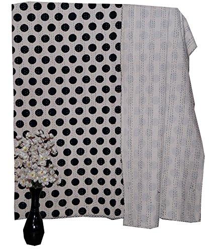 Home Decor Bettwäsche Reversible Kantha Quilt, Indian Kantha Quilt, Umwerfend Polka Dot Schwarz und Weiß recycelten craft, Quilt, Bettwäsche Cover, Quilt, Tagesdecke Vintage Kantha von Online Big Bazar