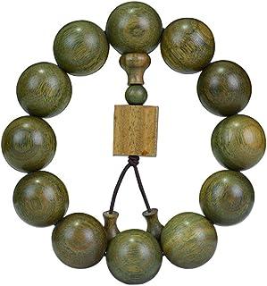 JAJAFOOK 15/18/20/25mm Natural Fragrant Green Sandalwood Mala Meditation Beads Wtist Bracelet - Tibetan Buddhism Prayer Beads