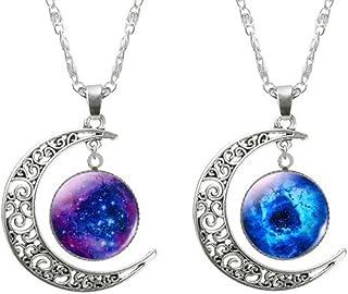 Qumaxx 2 Collane Amicizia con Ciondolo Falce di Luna Misterioso Nebulosa Galassia Stella Cosmica