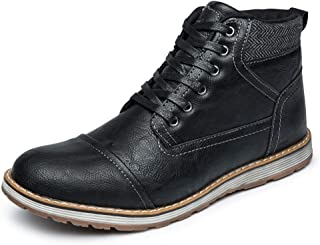 LANGBAO Mens Boots Casual Lace Up Ankle Chukka Boot Classic Black Dress Shoes