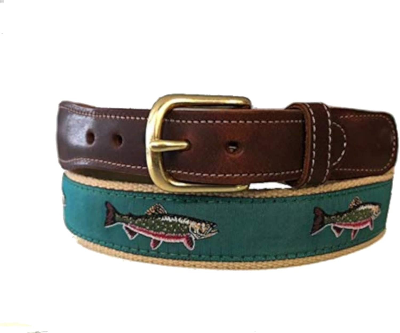 Men's Preston Leather Milwaukee Mall Ribbon Teal Brook Max 79% OFF Fish Belt Trout
