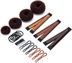 11 Pack Donut Hair Bun Maker Set, 4 Donut Bun Makers + 3 Magic Twist Hairstyle Clips +1 Bag Hair Pin + 6 Grip Hair Pins and 6 Hair Elastic Bands for Women Girls (Brown)