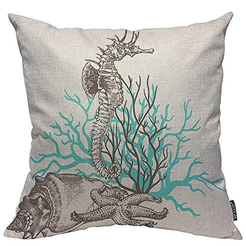 Funda de cojín cuadrada para sofá, silla, oficina, bar, decoración de coche, funda de almohada, diseño de caballito de mar, coral, estrellas de mar, mariscos, océano, vida salvaje tropical