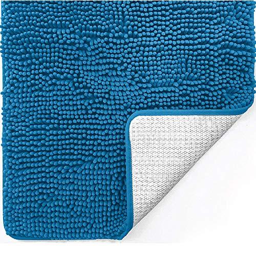 Gorilla Grip Alfombra de baño de chenilla de lujo original, 91 x 61 cm, extra suave y absorbente, lavable a máquina y secado, ideal para bañera, ducha y cuarto de baño, color azul caribeño