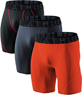 ATHLIO Men's (Pack of 3) Cool Dry Compression Active Sports Baselayer Shorts