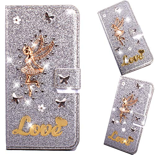 Bookstyle Bling Hülle für Huawei P30 Lite,Glitter Glitzer Diamond Musterg Slim Klassisch Modisch Magnet Leder Stand Funktion Kartenfach Flip Wallet