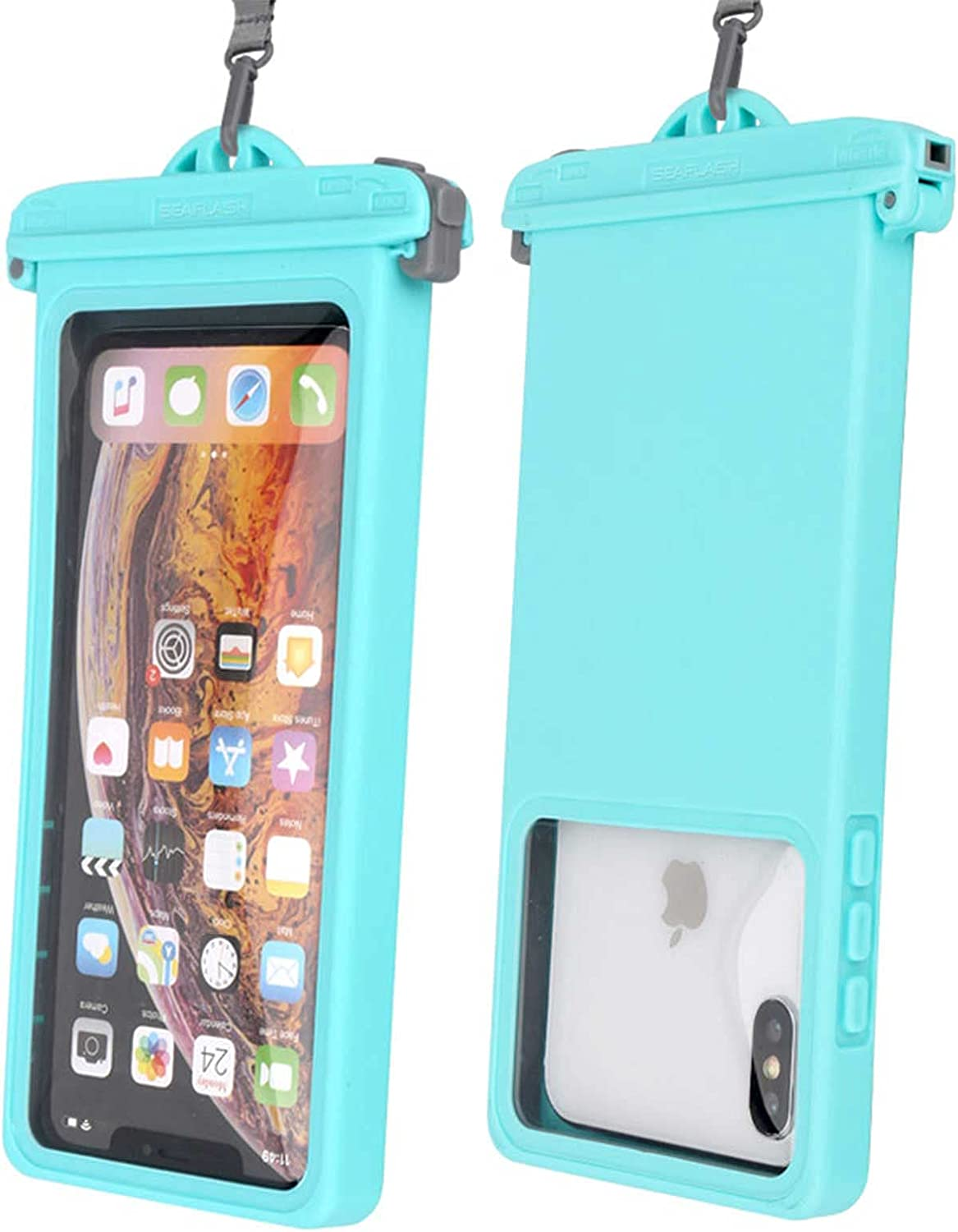 YQK Universal Waterproof Phone Pouch Underwater Case Clear Cellphone Dry Bag with Lanyard Outdoor Beach Swimming Snorkeling Bag for Smartphone up to 6.9 Inch (Cyan)