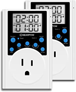 [2 Pack] Timer Outlet, Nearpow Multifunctional Infinite Cycle Programmable Plug-in Digital Timer Switch With 3-prong Outlet for Appliances, Energy-saving Timer, 15A/1800W