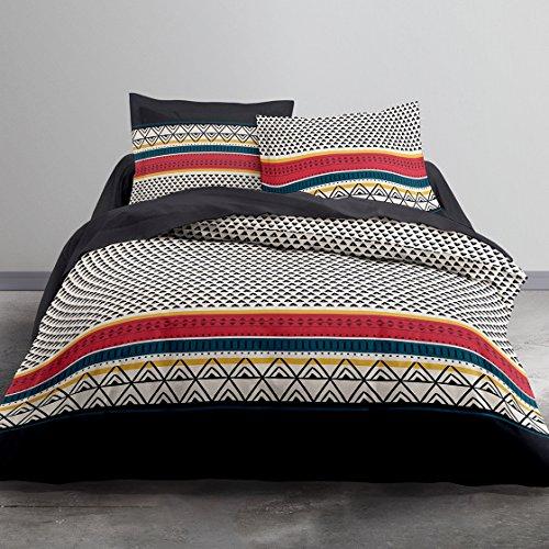 TODAY Etniko Parure de Lit 2 Personnes + 2 Taies d'oreiller, Coton, Multicolore, 220x240 cm