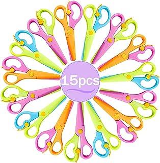 15 Packs Plastic Child Safety Scissors Preschool Training Scissors,Child Craft Scissors with Ergonomic Handle for Kids Pap...