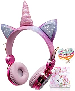 Kids Headphones Wireless Headphones for Kids Unicorn Headphones for Girls Bluetooth w/Microphone Adjustable Headband, Over...