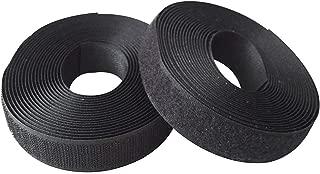 JIAKAI 1 inches (25mm) 5 Yards Sew on Hook + Loop Loop Sew (Black)