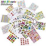 JNCH 100 Hojas Pegatinas Infantiles DIY Scrapbooking Stickers Infantiles Pegatinas de Recompensa para Manualidades Álbum Fotos Diarios Calendarios Tarjetas de Felicitación Regalos (10 Estilos Mixtos)