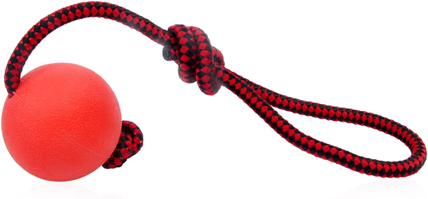 HBuir Indestructible Dog Ball Rubber Toy with Rope,Small