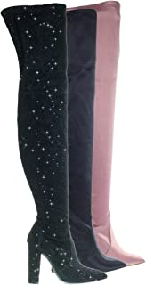 Stretchy Chunky Block Heel Thigh High OTK, Over-The-Knee Pointy Toe Boot