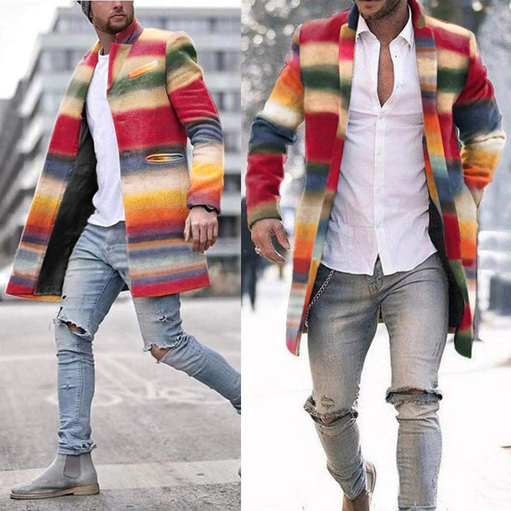 Allywit-Mens Winter Mid Length Wool Blend Trench Colorful Print Coat Fleece Lining Open Front Cardigan Coat Overcoat Outwear
