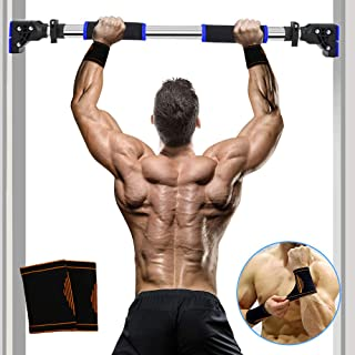 SIEBIRD Pull Up Bar, Chin Up Bar Doorway No Screws Installation Pullup Bar with Locking Mechanism, Upper Body Workout Bar Home Gym Equipment with Bonus Wrist Sweatbands