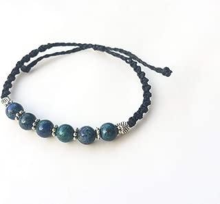 Eilat stone beaded macrame and silver handmade bracelet