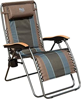 Timber Ridge Zero Gravity Locking Patio Outdoor Lounger Chair Oversize XL Padded Adjustable Recliner with Headrest Support 350lbs, Earth