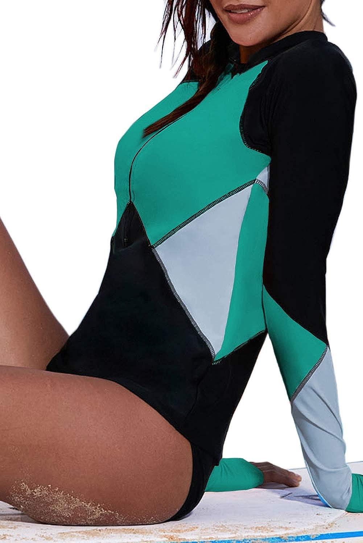 Women's Tops Long Sleeve Rash Guard Half Zip Swimsuit UV Sun Protection Surfing Shirt No Bottom
