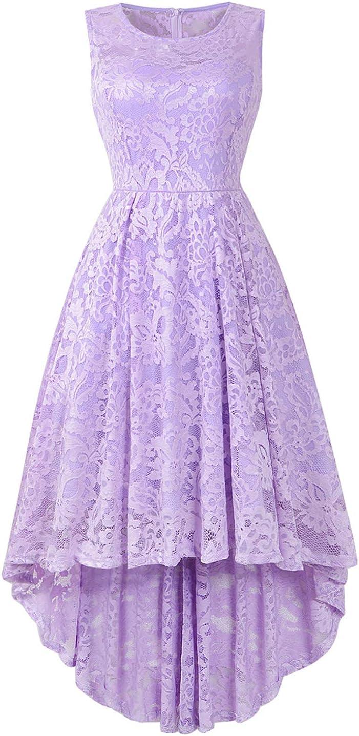 Yuanlar Women's Sleeveless Lace Floral Hi-Low Cocktail Dress Vintage Formal Party Swing Dress Bridesmaid Dress
