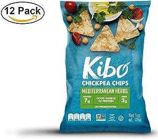 Kibo Chickpea Chips - Plant-based, Gluten Free, Non-GMO, Kosher. Mediterranean Herbs, 1 oz. 12 pack.