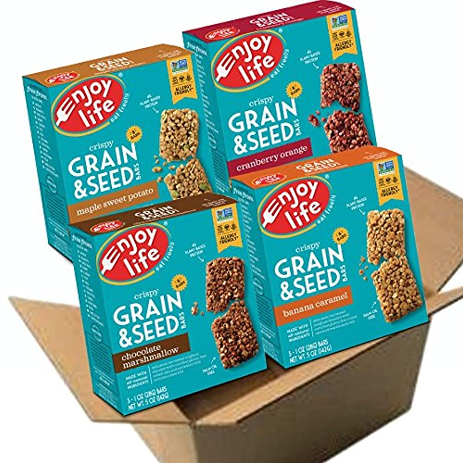Enjoy Life Grain & Seed Bars, Soy free, Nut free, Gluten free, Dairy free, Non GMO, Vegan, 4 Boxes of 5, 1 Ounce Bars (20 Count)