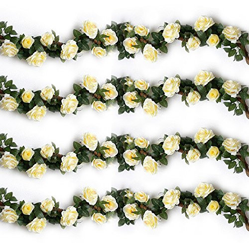 YILIYAJIA 4PCS(28.16 FT) Artificial Rose Fake Vines Silk Flowers Rose Garlands Hanging Rose Ivy Plants for Wedding Home Office Arch Arrangement Decoration(Beige)