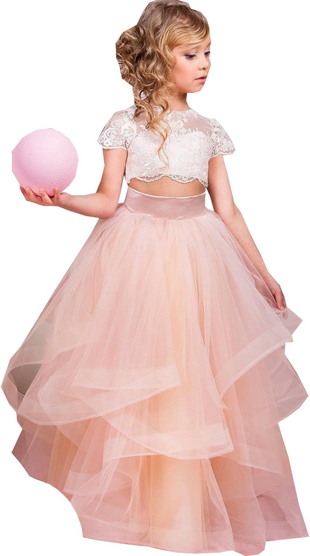 Kelaixiang Jewel Short Sleeves Flower Girl Dress Two Pieces Organza