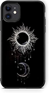 XUNQIAN iPhone 11 Case, Black Sun and Moon Artistic Thin Soft Black TPU +Tempered Mirror Material Protective Case for Appl...