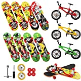 Vankerter 11pcs Mini Finger Skateboards and Bikes Finger Toys Fingerboards with Replacement Wheels and Tools for Kids as Gifts