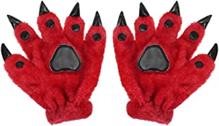 Womens Teens Girls Boys Halloween Gloves Cosplay Costume Props Gift Winter Warm Plush Paw Claw Animal Gloves Mittens