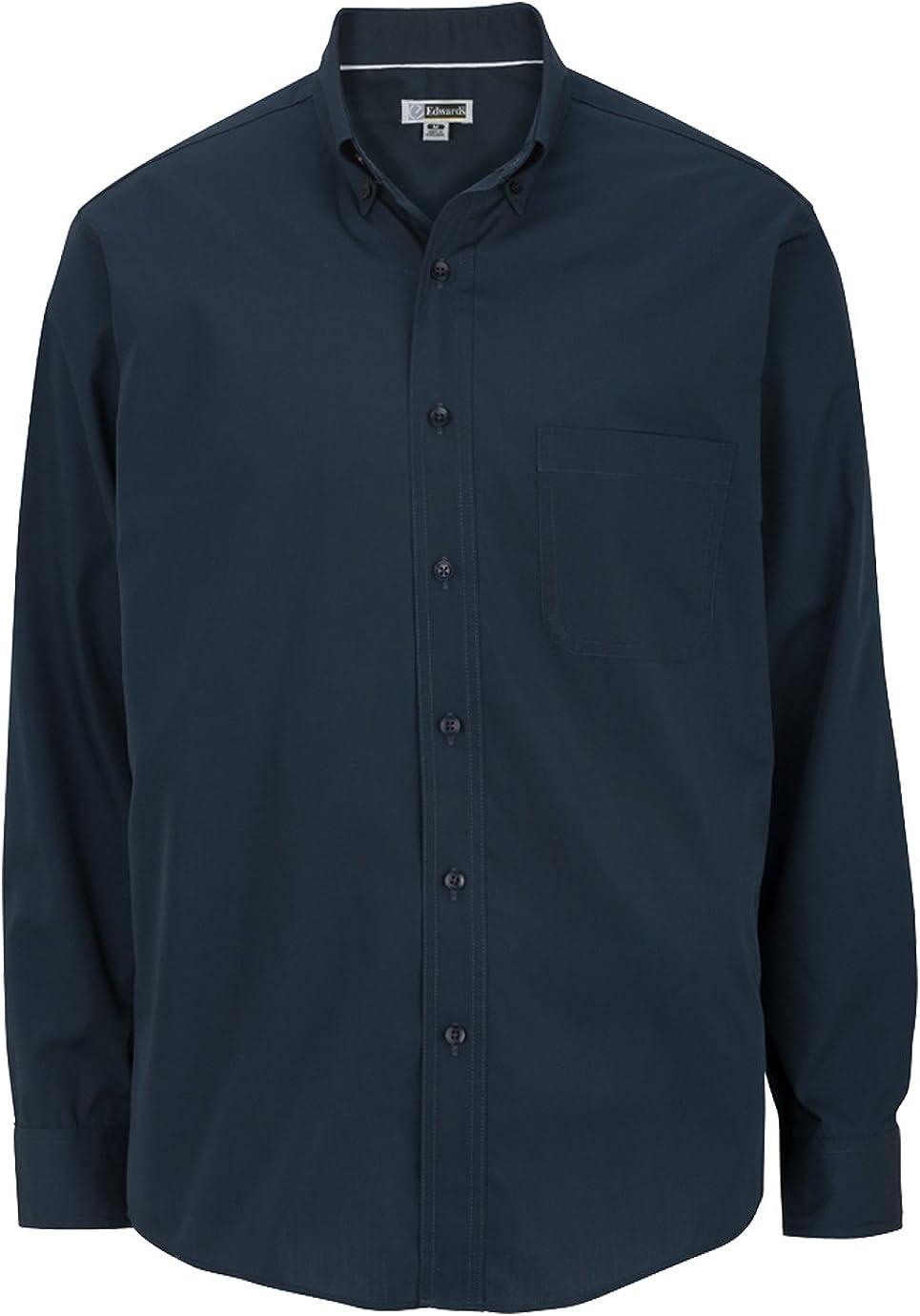 Edwards Garment Men's Big And Tall Easy Care Poplin Long Sleeve Shirt_NAVY_2XLT
