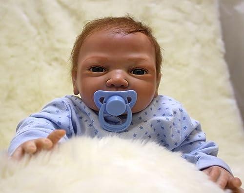 O-YMS 22Zoll 55cm Handarbeit Reborn Babys Puppe Weißhes Silikon Vinyl Magnetisch Baby Dolls mit Schnuller Junge Augen Offen