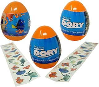 Finding Dory Eggs with Temporary Tattoos (3 Pack) - 40 Tattoos Each, 4.5 Inches Tall Easter Party Favors