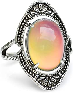 Fun Jewels Vintage Style Antique Sterling Silver Plating Brass Oval Stone Color Change Mood Ring Size Adjustable
