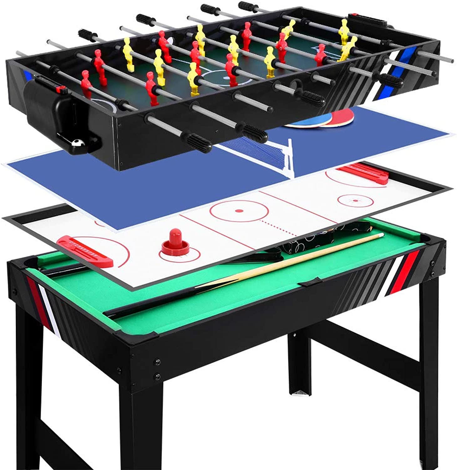 4in1 4FT Multi Games Table Soccer Football Foosball Ice Hockey Table Tennis Snooker Pool Games Kids Adults Family Party Entertainment Birthday Gift