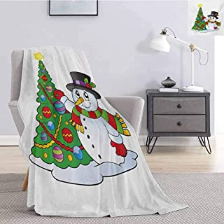 Luoiaax Snowman Plush Blanket for Bed Couch Lovely Character Near a Christmas Tree Festive Celebration Holiday Winter Time All Season Premium Fluffy Blanket W60 x L80 Inch Multicolor