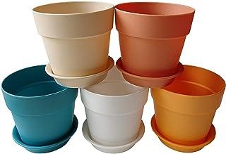 Axe Sickle 3.9x3.5 inch Colorful Plastic Planter, Indoor Flower Pot, Mini Plastic Flower Seedling Nursery Pot, Garden Plant Pot Home Decoration, Flower Pot with Pallet 5 Pcs.