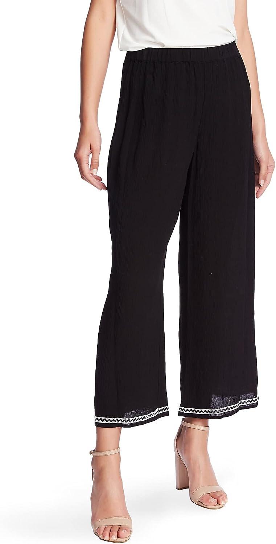 CeCe Womens Black Wide Leg Wear to Work Pants Size S