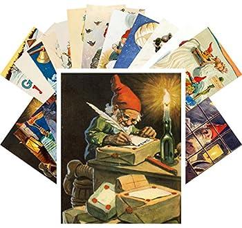 Postcard Set 24pcs Christmas Dwarves Vintage Illustrations by Jenny Nystrom
