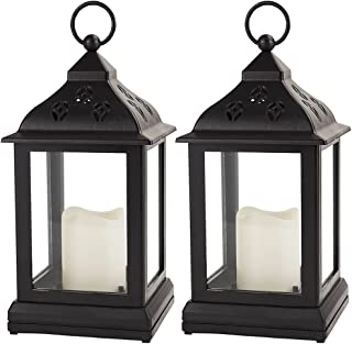 Bright Zeal/Pack of 2/ Vintage Candle Lantern with LED Flickering Flameless Candle (Black, 8hr Timer, Batteries Included)...