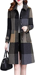 Womens Loose Fit Plaid Wool-Blend Single Breasted Outwear Lapel Pea Coat