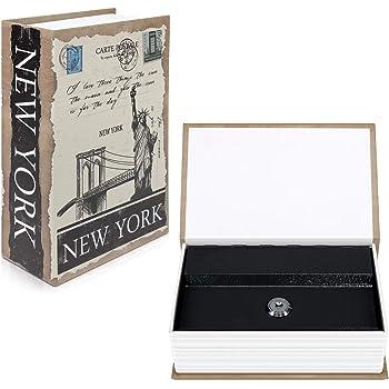 Navaris Caja fuerte con forma de libro - Caja de caudales escondida para guardar dinero joyas relojes - Con diseño de Nueva York y 2 llaves - S: Amazon.es: Bricolaje y herramientas