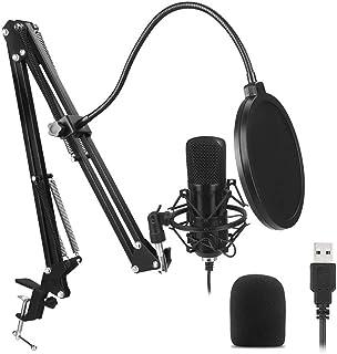 USB micrófono de condensador cardioide micrófono 192 KHz / 24 bits Profesional Estudio Podcast micrófono Plug and Play con...