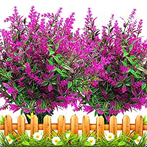 Grunyia 10 Bundles Artificial Lavender Flowers Outdoor Fake Plants Faux Plastic UV Resistant Flowers for Home Garden Porch Window Box and Cemetary Grave Decorations¡