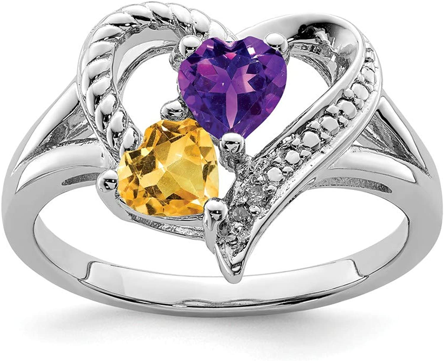 Beautiful Sterling silver 925 sterling Sterling Silver Rhodium Amethyst & Citrine Diam. Ring